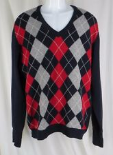 Vintage Ping Lambswool Argyle VNeck Sweater Pullover Trad Red Blue Mens Scotland