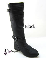 Women's Fashion Boots Shoes Knee High Motorcycle Riding Flat Military NEW CUTE