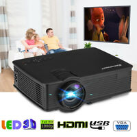 Portable 7000 Lumens 1080P FHD LED Video Projector Home Theater 3D TV DVD HDMI