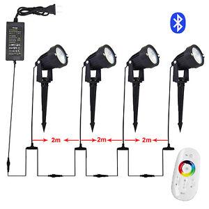 4er LED Gartenspots RGB mit Fernbedienung und Bluetooth Gartenbeleuchtung Smart