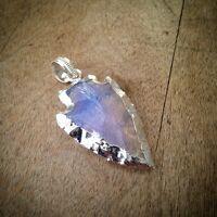 REAL Opaline Opal Arrowhead Charm Sterling SILVER Plated Gemstone Arrow Head