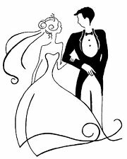 Unmounted Rubber Stamp - Bride & Groom Small - 7084