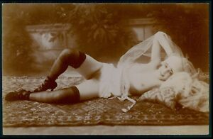 Citrate photo French full nude woman stockings on floor original c1910s postcard