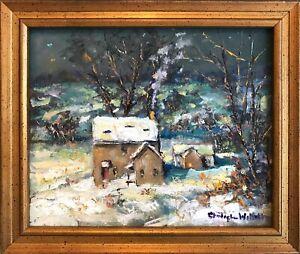 Impressionist Winter Landscape Farmhouse by American Artist Christopher Willett