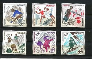 MONACO - SG1435-1440 MNH 1980 OLYMPIC GAMES MOSCOW & LAKE PLACID