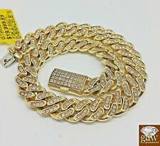 Mens 3CT Diamond Bracelet 10k Yellow Solid Gold Miami Cuban 9 Inch 8mm Bracelet