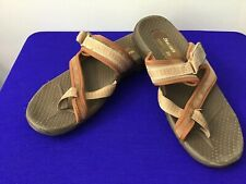 Sketchers Women's Brown Tan Size 8.5 Leather Sandals Comfy Suede (B61)