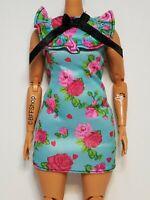MATTEL BLUE PINK FLORAL DRESS BARBIE FASHIONISTAS BOHO FASHION CLOTHES CURVY