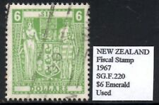 New Zealand 1967 Fiscal Stamp  $6 Emerald  Decimal Currency Issue  SG.F220  Used