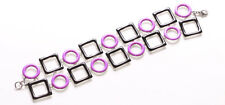 Quirky & Vibrant-deep Pink Circle/Black Metal Square Embellished Bracelet(Zx296)