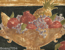 Gold Golden Tan Black Tuscan Tuscany Fruit Bowl Grape Wall paper Border