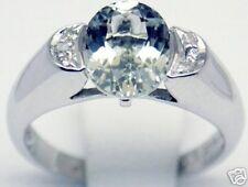 Women 14k Ring, 2 cts Aquamarine 0.15 ct Diamond Sz 7