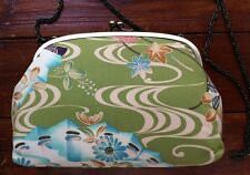 Japanese Traditional 'Ryusui' Flowing Water Print Shoulder Bag with Chain Strap