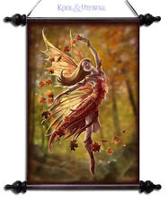 """Anne Stokes Wall Art Scroll: """"Autumn Fairy"""" Forest Nymph with Fallen Leaves"""