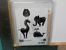 STAMPIN UP ANIMAL STORIES WHALE OWL SET 4 WOOD MOUNT RUBBER STAMPS NEW A13653