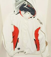 Rossignol Racing Womens Polyester Ski Jacket White / Red With Hood Small S