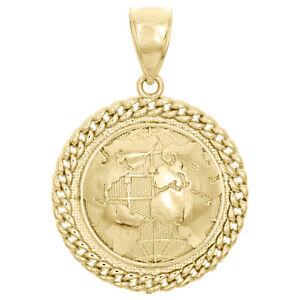 "10K Yellow Gold World Map Globe Diamond Cut Pendant 1.70"" Miami Cuban Link Charm"