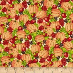 Harvest Bounty Packed Pumpkins & Fruit Fabric 100% Cotton Half Yard 45cm x 110cm