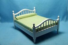 Dollhouse Miniature Double Bed in White with Green Checked Bedding ~ CLA10755
