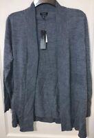 Talbots grey 100% merino wool shrug cardigan sweater Size 1X Petite rib trim