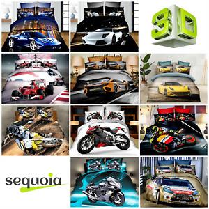 3D Cars Motorbikes Bedding Set 100% Cotton Duvet Quilt Cover Gift ❤️ UK Sizes ✅