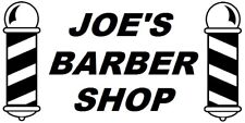 large personalised + name barber shop front window barbers pole vinyl sticker