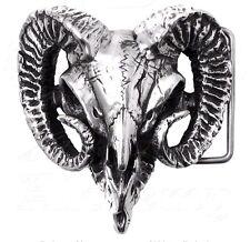 Ram's Skull Horns Pewter Belt Buckle Heavy Duty B95 Alchemy Metal-Wear Gothic