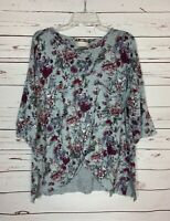 Altar'd State Women's L Large Gray Floral Dolman Sleeve Cute Fall Sweater Top