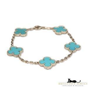 Van Cleef & Arpels Vintage Alhambra 5 Motif 18k White Gold Turquoise Bracelet