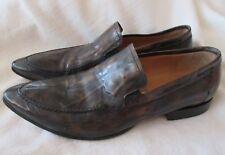 BRUMAS Aldo Men's 43 Black Antiqued Leather Pointed Split Toe Loafers Italy