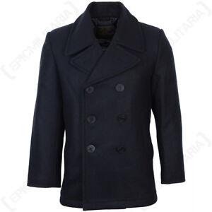Dark Blue US Navy Pea Coat - American Naval Wool Jacket Overcoat New
