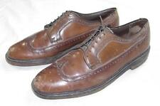 Vtg Whiskey Brown Longwing Wing Tip V Cleat Leather Dress Shoes Sz 9.5 D Usa