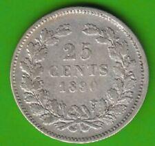 Niederlande 25 Cents 1890 Willem III in sehr schön selten nswleipzig