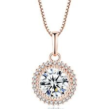 Woman Lab Diamond Round Cut 3.0 ct White Gold & Rose Gold Filled Halo Necklace