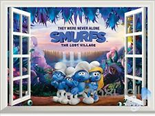 Smurfs Lost Village 3D Window Wall decor Stickers Kids decals Gift