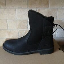 UGG Naiyah Black Leather Twinface Sheepskin Ankle Boots Shoes US 9 Womens