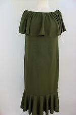 Large LuLaRoe Cici Dress Ruffles Solid Military Army Green Liverpool Fabric NWT
