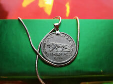 "1947 INDIA TIGER RUPEE PENDANT on a 24"" 18k Gold Filled Round Chain."