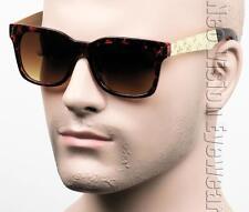 Metal Temple Marijuana Gangster Wayfarer Sunglasses Brown Gold Tortoise T11