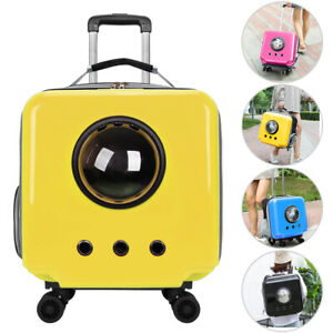 Dog Cat Carrier Rolling Backpack Travel Luggage Bag Removable with Double Wheels
