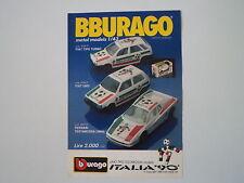 advertising Pubblicità 1989 BBURAGO FIAT UNO/TIPO TURBO/FERRARI TESTAROSSA
