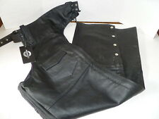 LEATHER MOTORCYCLE BIKER CHAPS NOMAD SIZE SMALL NEW