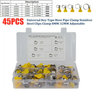 45Pcs Universal Key Type Hose Pipe Clamp Stainless Clips Clamp 8-32MM Adjustable