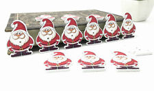 25pcs Christmas Decorations Wooden Buttons Sewing Santa Claus scrapbooking 35mm