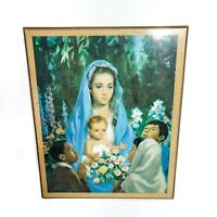 Vintage 1965 Mary Jesus and Children Litho Wood Plaque Catholic Religious Decor