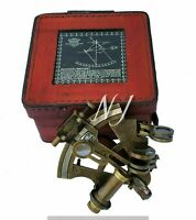 Antique Brass Sextant Nautical Brass Sextant Working Marine Vintage/Leather Box