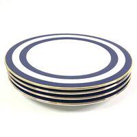 Set Of 4 Ralph Lauren Spectator Cadet Dinner Plates Fine China Navy White Gold