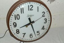 1950s Vtg SESSIONS Industrial SCHOOL Electric WALL CLOCK Metal-Glass Bubble RUNS