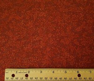 Isabella Kensington Studio QT BTY Copper Fleck on Tonal Barn Red Leaf Print