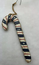 Old World Americana Candy Cane Handpainted Wooden Christmas Ornament